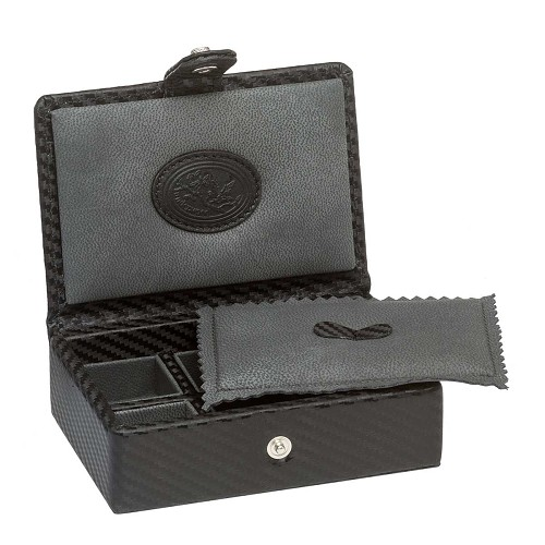 Underwood Carbon Fiber Box for six cufflinks sets is lined with micro fiber to inhibit oxidation.