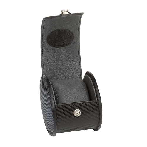 Underwood Carbon Fiber Round Single Watch Case is lined with micro-fiber to inhibit oxidation.