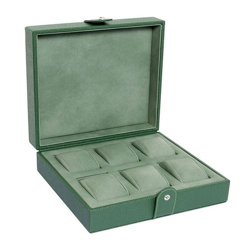 Underwood Green Line Edition Leather Six Watch Storage Case is handmade in natural tanned printed calfskin.