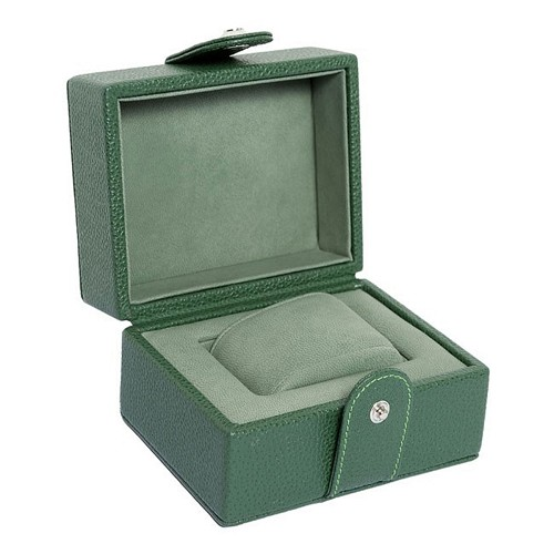 Underwood Green Line Edition Leather Single Large Watch Storage Case is handmade in natural tanned printed calfskin.