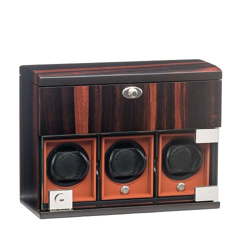 Underwood Macassar Wood watch winder for three watches and jewelry.