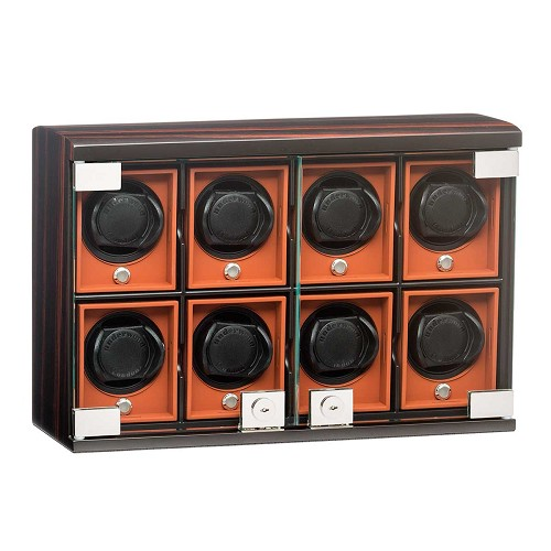 Underwood Macassar Wood watch winder for eight watches with removable travel modules.