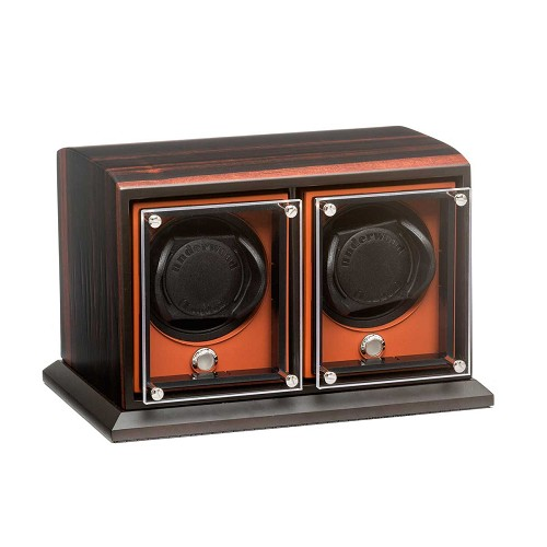 Rotobox Evo Macassar Wood watch winder for two large luxury automatic watches with up to 57mm diameter.