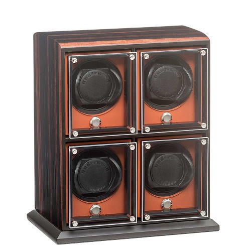 Rotobox Evo Macassar Wood quad unit watch winder for four large luxury automatic watches with up to 57mm diameter.