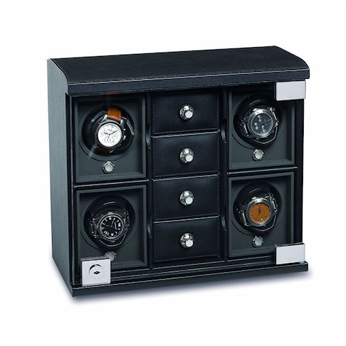 Underwood Rotobox Four-Module Watch Winder with Compartment Trays