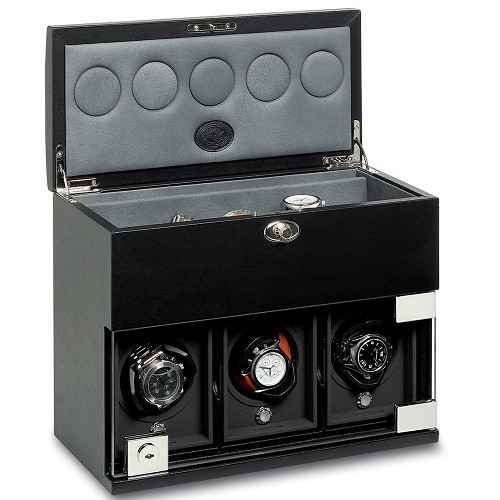 Rotobox Triple-Module Watch Winder with extra watch storage handmade in smooth black leather.