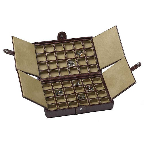 Underwood Leather Cufflink Box - 48 Pair is made with the finest vegetable tanned calf leather.