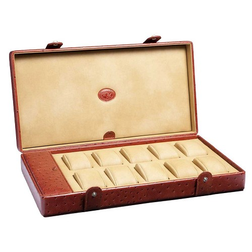 Underwood Leather Watch Storage Box for 10 Large Watches is handmade in the finest Italian calf leather.
