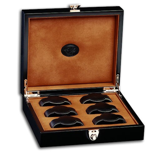 Underwood Black Lacquer Wooden 6 Watch Storage Box