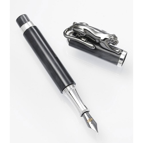 Urso Black Panther Fountain Pen: Handmade in black resin with sterling silver.