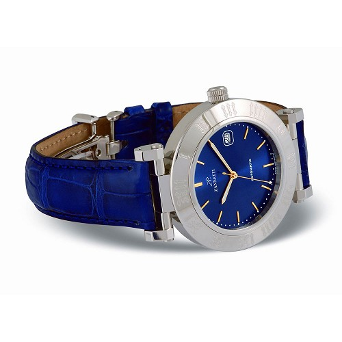 Zannetti Automatic XL Blue Watch is a handmade unisex automatic watch with a dial with a sunray effect.