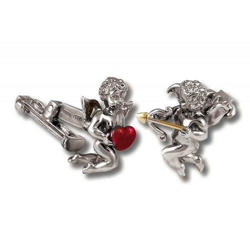 Limited Edition Zannetti Cupid Cufflilnks handmade in silver with red enameled heart and gilded arrow.