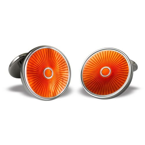 Hand-enameled Orange ray round coin-size cufflinks with sterling silver.
