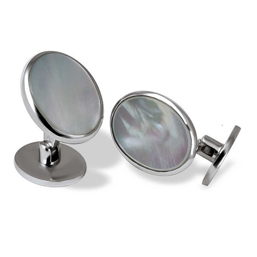 Limited Edition Oval Silver Cufflinks handmade with white mother-of-pearl.