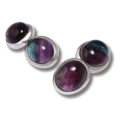 Limited Edition Fluorite Oval Cufflinks handmade with sterling silver.