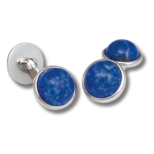 Limited Edition Lapis Stone Cufflinks handmade with sterling silver.
