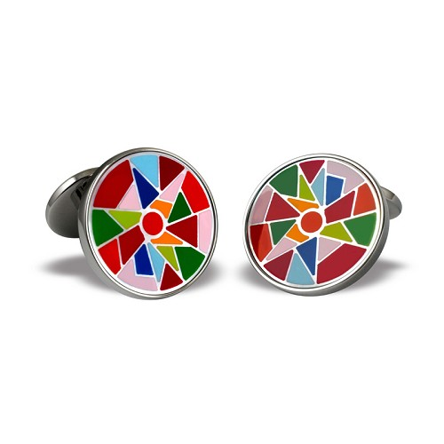 Harlequin Cufflinks in stainless steel with mother-of pearl base and multi-color enamel.
