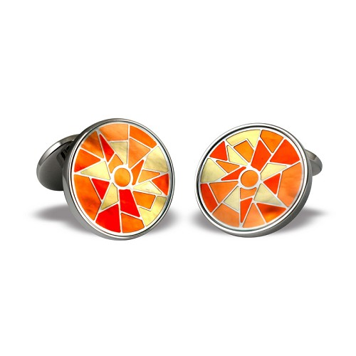 Harlequin Cufflinks in stainless steel with orange yellow enamel on mother of pearl base.