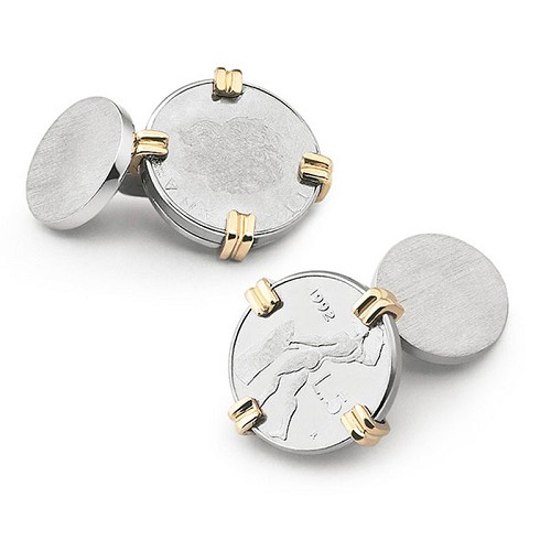 Italian Lira Coin Cufflilnks handmade in sterling silver with gold inserts.