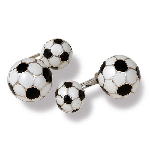 Soccer Ball Cufflilnks handmade in sterling silver with white and black enamel.