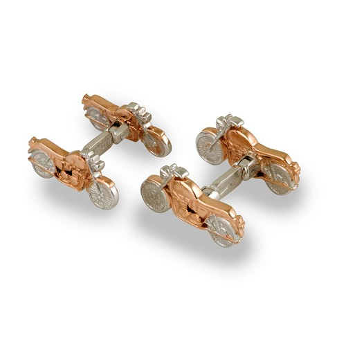 Motorbike cufflinks handmade in sterling silver with rose gold details.