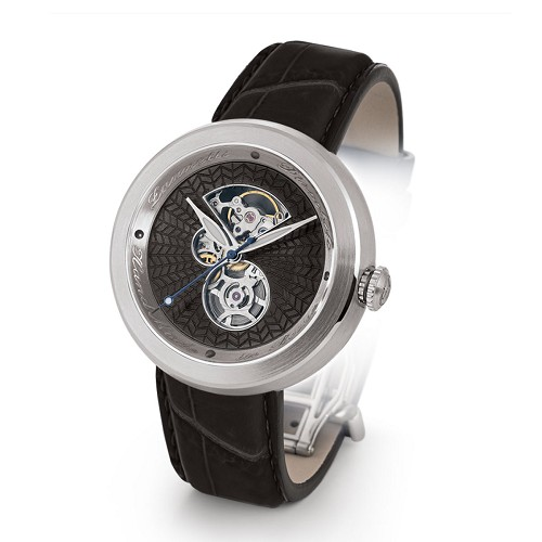 Discobolo men's automatic watch with black translucent enamel dial and satin finished steel case. Limited to 20 per year.