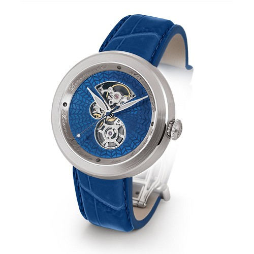 Discobolo men's automatic watch with blue translucent enamel dial and satin finished steel case. Limited to 20 per year.
