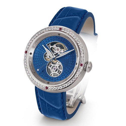 Discobolo men's automatic watch with blue translucent enamel dial with diamonds and satin finished steel case. Limited to 20 per year.