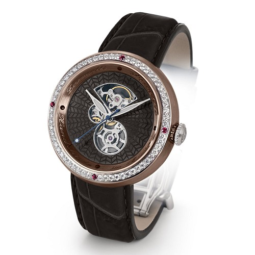 Discobolo men's automatic watch with black translucent enamel dial with diamonds and satin finished bronze case. Limited to 20 per year.