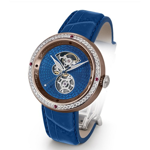 Discobolo men's automatic watch with blue translucent enamel dial with diamonds and satin finished bronze case. Limited to 20 per year.