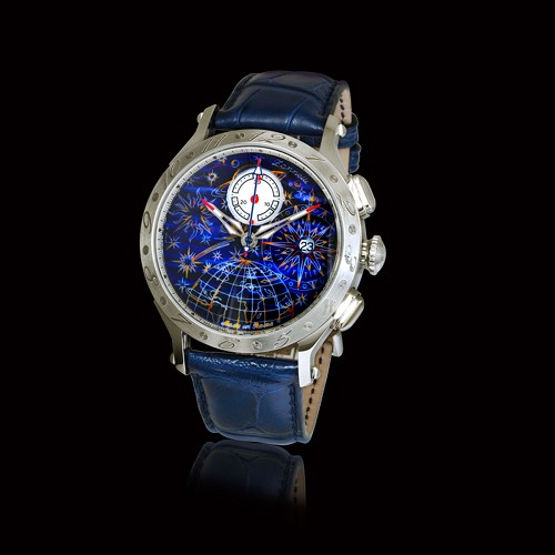 Limited Edition Zannetti Regent Full Sky Blue Chronograph Mk II men's luxury watch handmade with hand-engraved Corozo dial hand-painted with multicolor enamels. 42mm stainless steel case.