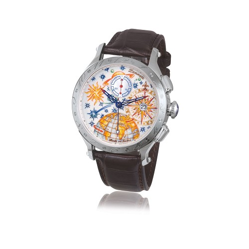 Limited Edition Zannetti Regent Full Sky Chronograph Mk II men's luxury watch handmade with hand-engraved Corozo dial hand-painted with multicolor enamels. 42mm stainless steel case.