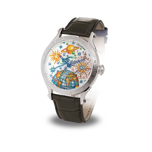 Regent Full Sky MK II men's automatic luxury watch handmade with hand-engraved natural dial hand-painted with multicolor enamels. 42 mm stainless steel case.