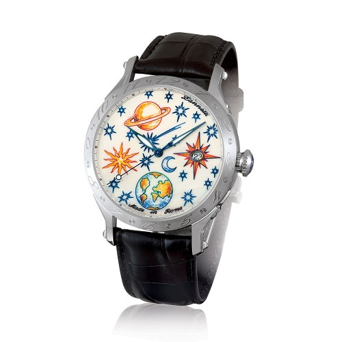 The Zannetti Regent Full Sky Classic Men's Steel Watch is handmade with the a natural dial hand painted with multi-color enamel.