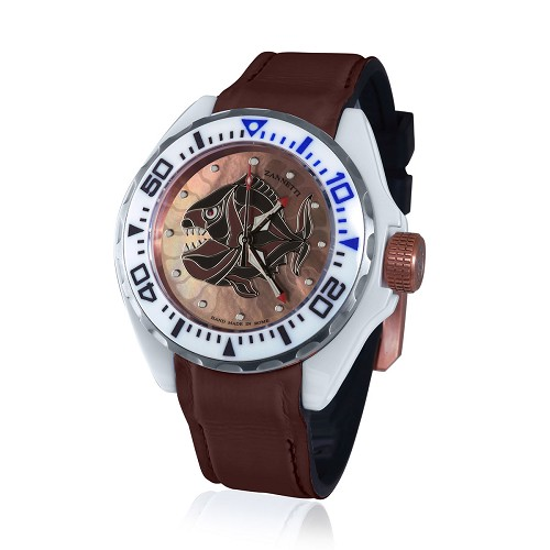 Brown Piranha dial Professional Luxury Scuba Art Dive Watch with high tech ceramic case handmade with multi-color hand-enameled mother of pearl. Helium escape valve. Automatic movement.