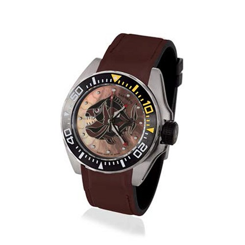 Professional Luxury Scuba Art Diving Watch handmade with Brown Piranha dial with multi-color enamels and mother of pearl. Helium valve and stainless steel case. Automatic movement.