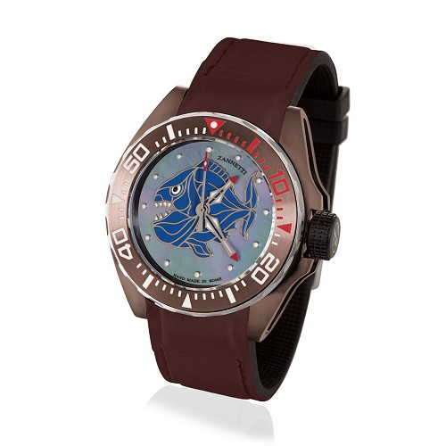 Professional Luxury Scuba Art Diving Watch handmade with Grey Piranha dial with multi-color enamel mother of pearl, brown PVD stainless steel case and helium escape valve. Automatic movement.