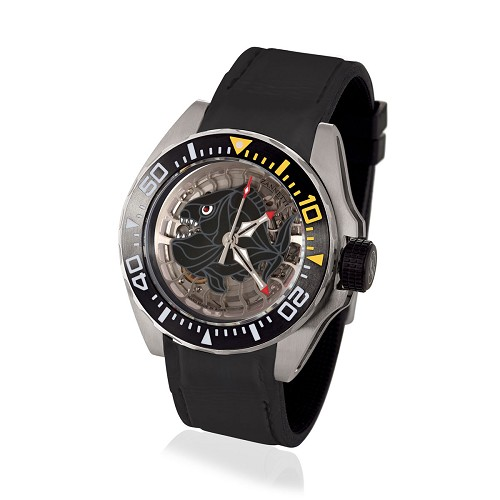 Professional Luxury Scuba Art Dive Watch with steel case. Black Skeleton Piranha dial  handmade in hand-enameled mother of pearl. Skeltonized automatic movement. Pressure compensating helium escape valve.