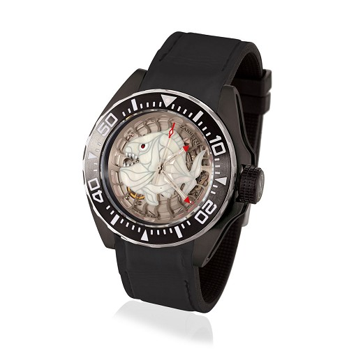 Professional Luxury Scuba Art Dive Watch with Black PVD steel case. White Skeleton Piranha dial  handmade in hand-enameled mother of pearl. Skeltonized automatic movement. Pressure compensating helium escape valve.