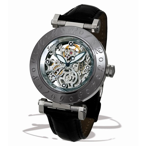 Squelette XL Automatic Skeleton Watch handmade with steel case and silver Swiss made movement reveals the creative excellence of Zannetti.
