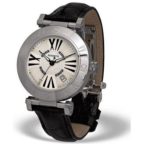 Zannetti Impero Steel XL Unisex Automatic Watch handmade with White MOP Dial and black greek fret letters.
