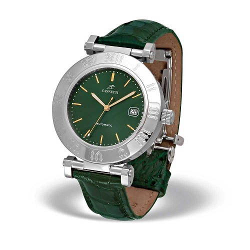 Zannetti Automatic XL Green Watch is a handmade unisex automatic watch with a dial with a sunray effect.